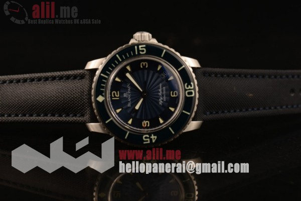 Blancpain Fifty Fathoms Automatic Best Replica Black Dial Steel Case Nylon Strap