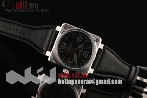 Fake Bell & Ross BR 01-92 Black Dial Steel Case Leather Strap