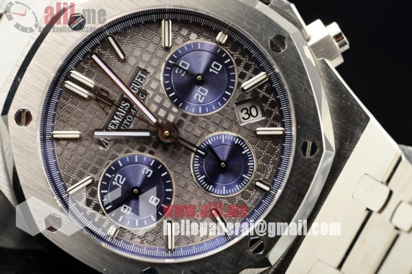 Top Quality Audemars Piguet Royal Oak 41MM Chronograph Date Grey Dial Stainless Steel Case Steel Strap (EF)