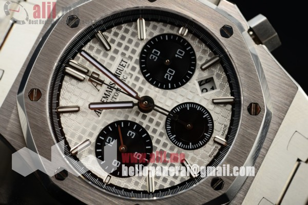 Bset Quality Audemars Piguet Royal Oak 41MM Chronograph Date White Dial Stainless Steel Case Steel Strap (EF)