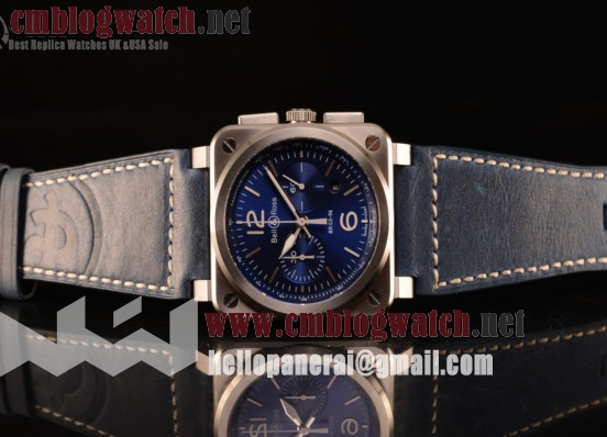 Bell Ross BR03-94 Valjoux 7750 Chrono Auto 316L Steel Case With Blue Dial Calfskin Strap