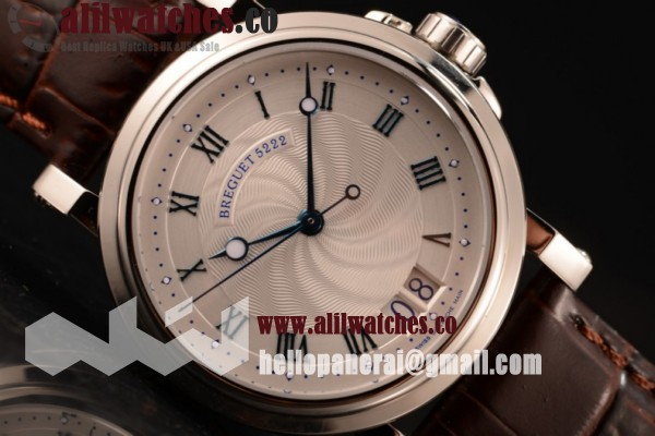 Breguet Marine Big Date Best Quality White Dial Steel Case Leather Strap