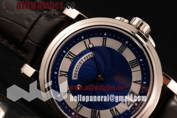 Breguet Marine Big Date Top Quality Blue Dial Steel Case Leather Strap