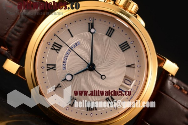 Best Quality Breguet Marine Big Date White Dial Yellow Gold Case Leather Strap