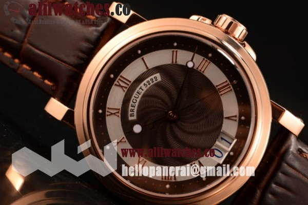 Top Quality Breguet Marine Big Date Brown Dial Rose Gold Case Leather Strap