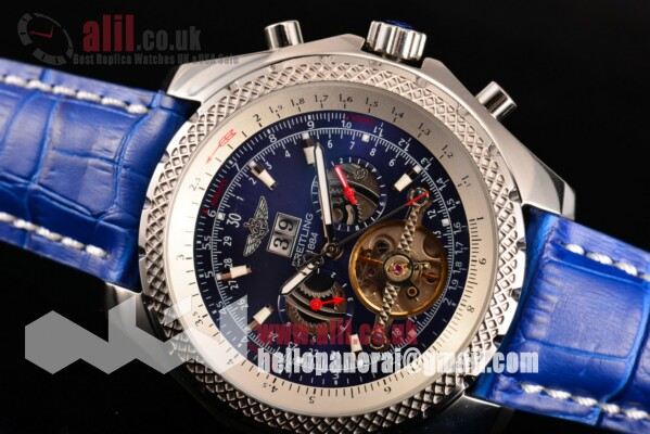 Breitling Bentley Tourbillon Blue Dial Steel Case Leather Strap