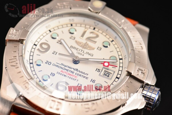 Breitling Superocean Steelfish Fake White Dial Steel Case Leather Strap