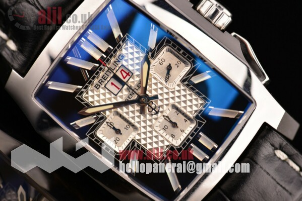 Breitling 1:1 Clone Bentley Flying B Chrono Black/White Dial Steel Case Leather Strap (Noob)