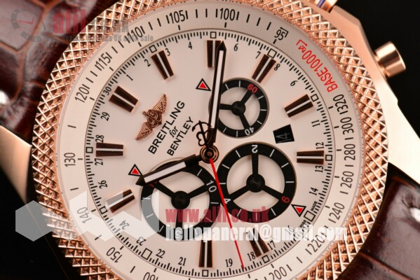 1:1 Replica Breitling Bentley Barnato Racing Chrono White Dial Rose Gold Case Leather Strap (Z)