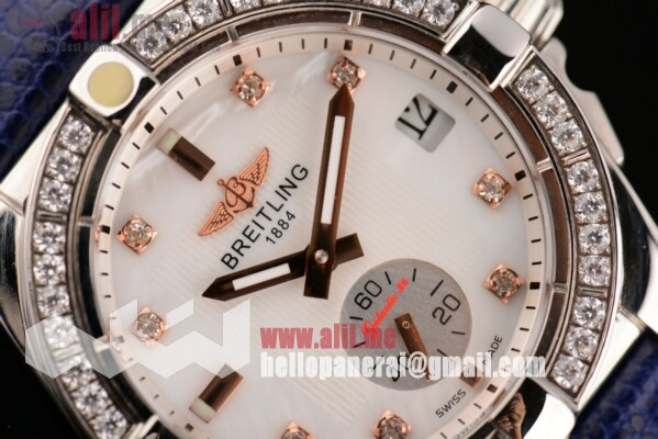Fake Breitling Galactic 36 White Dial Steel Case Leather Strap