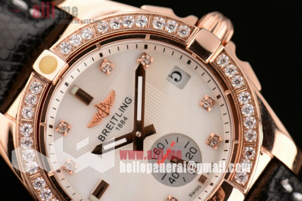 Breitling Fake Galactic 36 White Dial Rose Gold Case Leather Strap