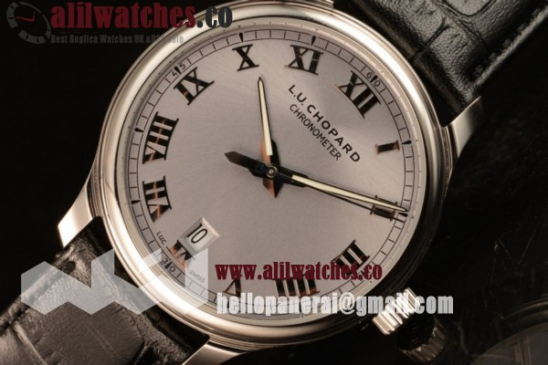 1:1 Clone Best Quality Chopard L.U.C Grey Dial Steel Case Roman Numeral Markers Black Leather Strap