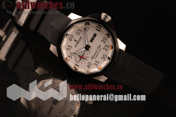 Corum Top Quality Challenger Steel Case White Dial Black Rubber Strap (XF)