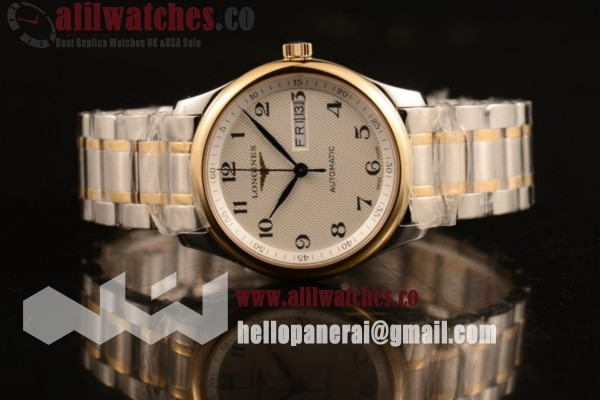 Longines Master White Dial Yellow Gold Case Two Tone Bracelet