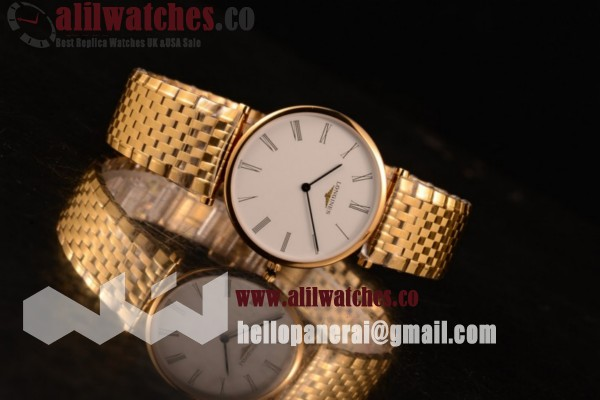 Longines La Grande Classique Best Quality Yellow Gold Case White Dial Roman Numeral Markers Yellow Gold Bracelet