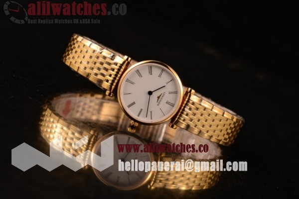 Best Quality Longines La Grande Classique Yellow Gold Case Roman Numeral Markers White Dial Yellow Gold Bracelet