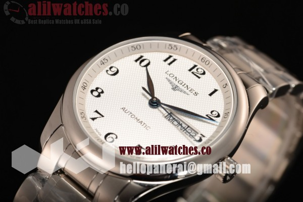 Longines Master Steel Case White Dial Arabic Numeral Markers Steel Bracelet