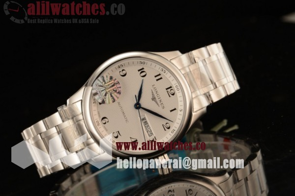 Longines Best Fake Master Steel Case White Dial Arabic Numeral Markers Steel Bracelet