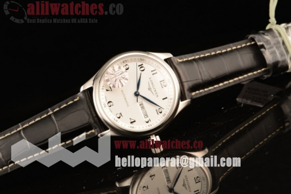 Best Quality Longines Master Steel Case White Dial Arabic Numeral Markers Black Leather Strap