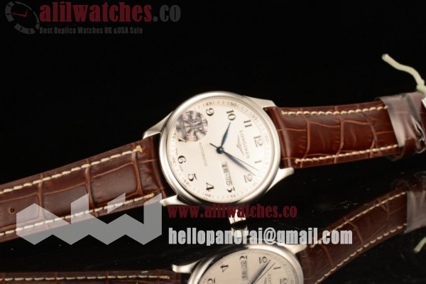 Best Fake Longines Master Steel Case White Dial Arabic Numeral Markers Brown Leather Strap