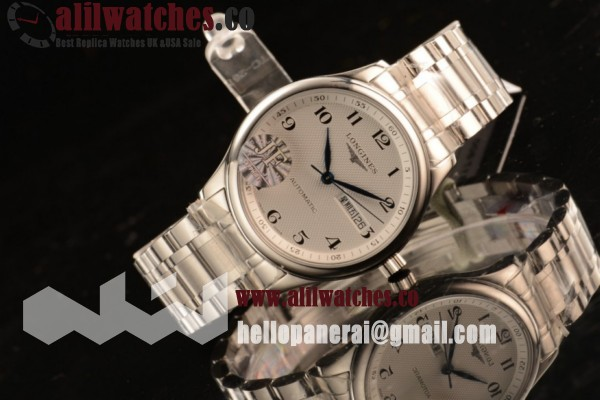 Longines Replica Master Steel Case White Dial Arabic Numeral Markers Steel Bracelet