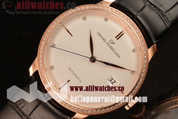 Girard Perregaux Best Quality 1966 White Dial Rose Gold Case Stick Markers Black Leather Strap