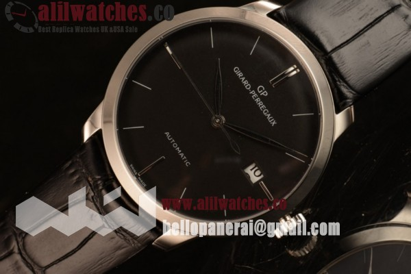 Top Quality Girard Perregaux Classique Steel Case Black Dial Stick Markers Black Leather Strap