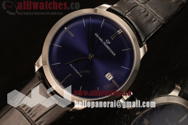 Girard Perregaux Best Fake 1966 Cadran Bleu Blue Dial Steel Case Stick Markers Blue Leather Strap