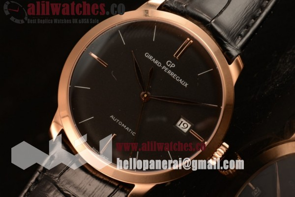 Girard Perregaux 1966 Best Quality Rose Gold Case Black Dial Black Leather Strap Stick Markers