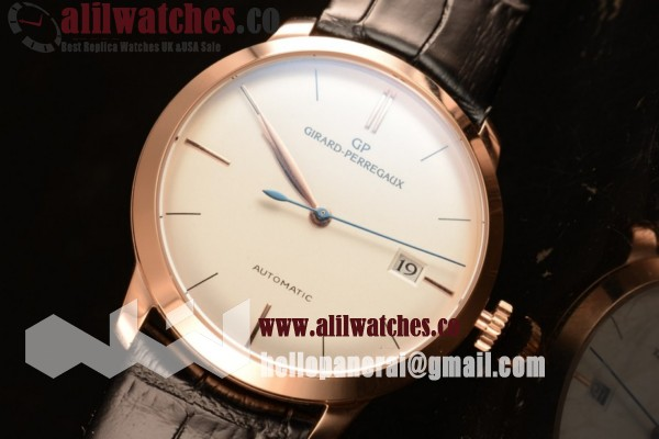 Best Quality Girard Perregaux 1966 Rose Gold Case White Dial Black Leather Strap Stick Markers