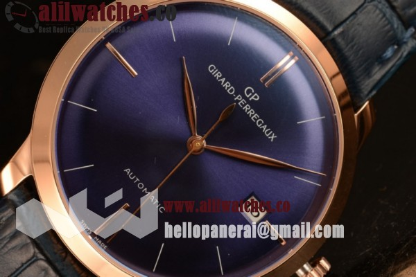 Best Replica Girard Perregaux 1966 Rose Gold Case Blue Dial Blue Leather Strap Stick Markers