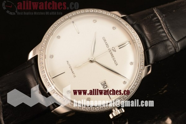Girard Perregaux 1966 Best Replica White Dial Steel Case Stick Markers Black Leather Strap