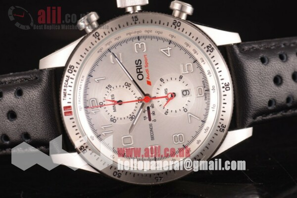 Fake Oris Audi Sport Limited Edition II Chrono Silver Dial Steel Case Leather Strap