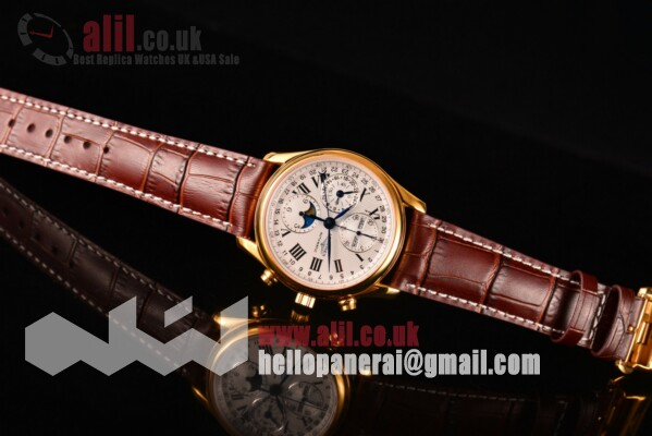 Longines Master Moonphase Chrono White Dial 1:1 Clone Yellow Gold Case Leather Strap