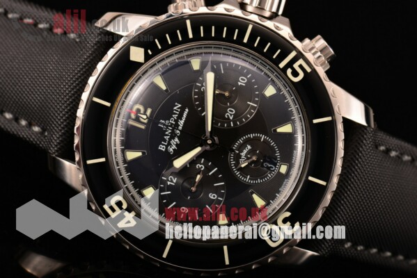 1:1 Clone Blancpain Fifty Fathoms (Chronograph Flyback Calibre F185 ) Black Dial Steel Case Sail-canvas Strap