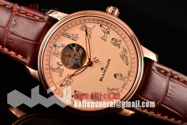 1:1 Replica Blancpain Le Brassus Beige Dial Rose Gold Case Leather Strap