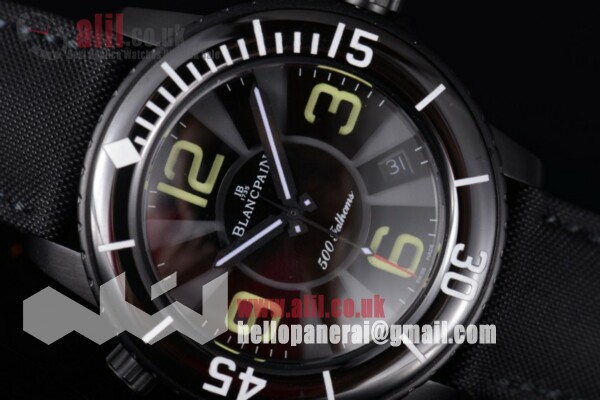 Blancpain 500 Fathoms Black Dial PVD Case Leather Strap Best Replica