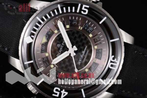Blancpain Best Replica Fifty Fathoms 500 Fathoms Black Dial Steel Case White Hands Leather Strap