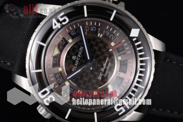 Blancpain Fifty Fathoms 500 Fathoms Black Dial Steel Case Black Hands Best Replica Leather Strap