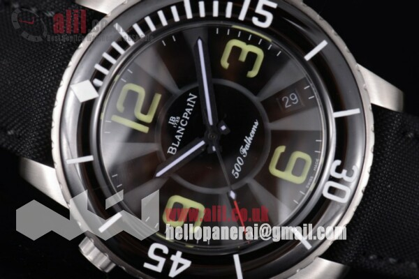 Best Replica Blancpain Fifty Fathoms 500 Fathoms Black Dial Steel Case Black Hands Leather Strap