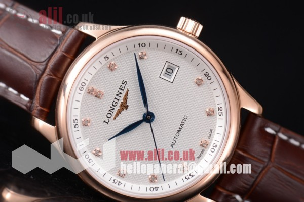 Longines Master Best Replica White Dial Rose Gold Case Brown Leahter Strap (ZF)