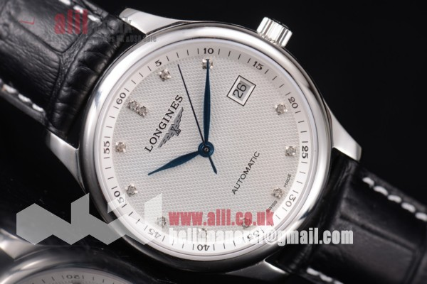 Longines Master Best Replica White Dial Steel Case Black Leahter Strap (ZF)