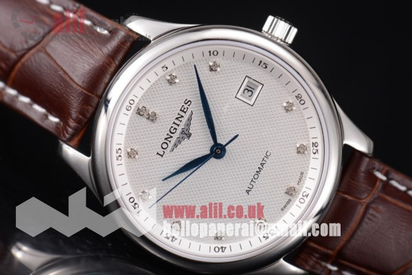 Longines Master Best Replica White Dial Steel Case Brown Leahter Strap (ZF)