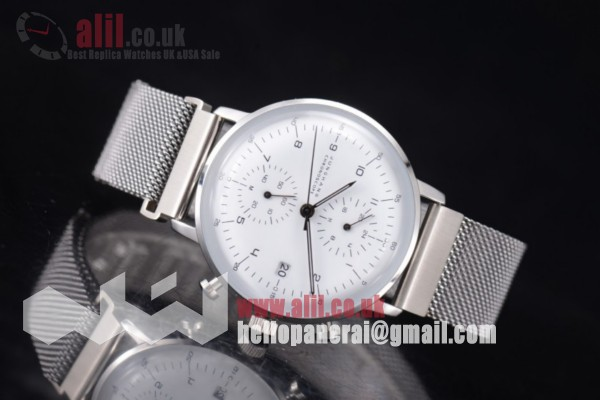 Junghans Max Bill Chronoscope Chronograph White Dial  Fake Steel   Case PVD Bracelet
