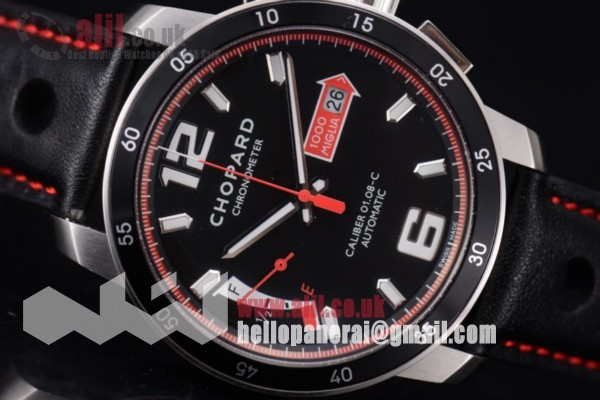 Chopard Mille Miglia GTS Power Control Chronograph Fake Black Dial Steel Case Leather Strap