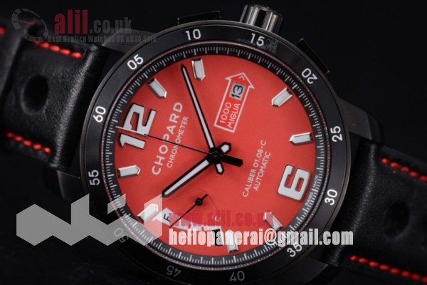 Chopard Mille Miglia GTS Power Control Chronograph Fake Red Dial PVD Case Leather Strap
