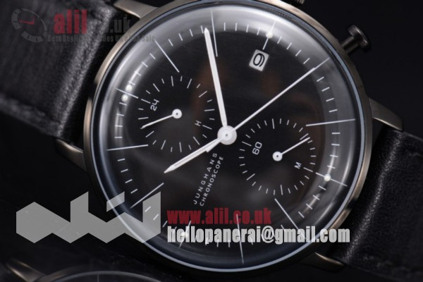 Junghans Max Bill Chronoscope Chronograph Fake Black Dial PVD Case Leather Strap