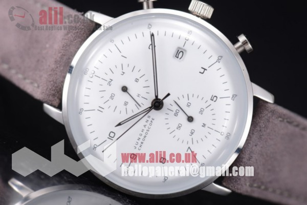 Junghans Max Bill Chronoscope Chronograph Fake White Dial Steel Case Leather Strap