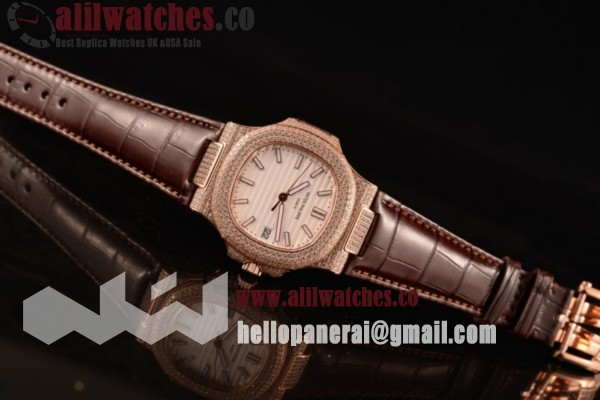 Best Replica Patek Philippe Nautilus Rose Gold Case White Dial Stick Markers Brown Leather Strap