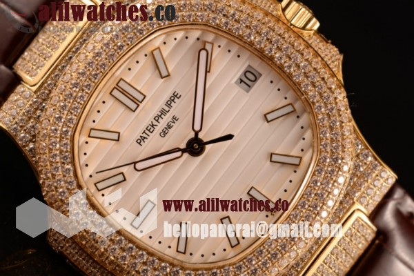 Top Quality Patek Philippe Nautilus Yellow Gold Case Diamonds Bezel White Dial Stick Markers Brown Leather Strap
